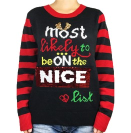Naughty List Sequin Ugly Christmas Sweater Women Knitted Pullover Oversized