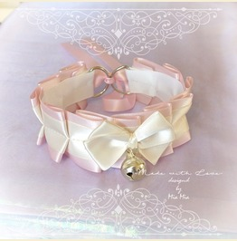 Kitten Play Princess Cat Collar Choker Necklace Pink Beige Bow Bell Bow Kit