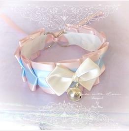 Kitten Play Princess Cat Collar Choker Necklace Pink Baby Blue Beige Bow Be