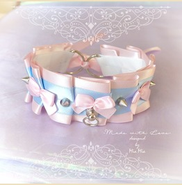 Kitten Play Collar Princess Cat Choker Necklace Pink Baby Blue Bow Spikes O