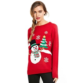 Snowman Christmas Tree Snowflakes Ugly Christmas Knitted Sweater Pullover