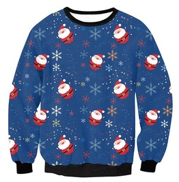 Santa Claus Snowflakes Cartoon Print Ugly Christmas Women Pullover Sweater