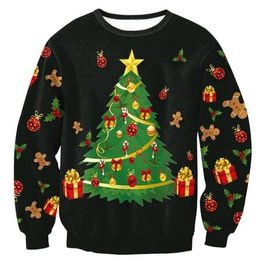 Christmas Tree Gifts Gingerbread Man Print Ugly Christmas Pullover Sweater