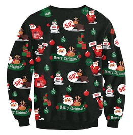 Santa Snowman Reindeer Discounts Print Ugly Christmas Pullover Sweater
