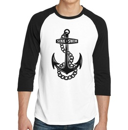 "Men's ""Sink Or Swim"" 100% Cotton Jersey Raglan"