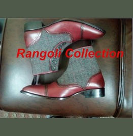 Handmade Men Two Tone Button Boot, Men Burgundy And Gray Ankle Boots