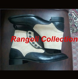Men Two Tone Button Boot, Men Black And Beige Ankle Boots, Men Boots