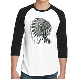 "Men's ""Indian Skull"" 100% Cotton Jersey Raglan"