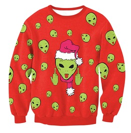 Aliens Santa Print Ugly Christmas Women Pullover Sweater