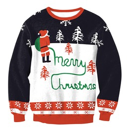 Peeing Santa Snowflakes Print Ugly Christmas Women Pullover Sweater