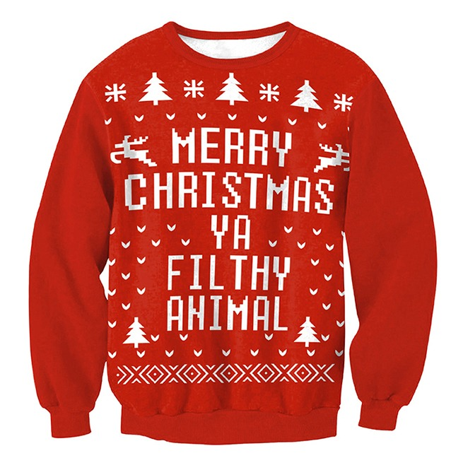 merry christmas ya filthy animal print ugly christmas sweater pullover - Merry Christmas Ya Filthy Animal