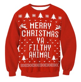 Merry Christmas Ya Filthy Animal Print Ugly Christmas Sweater Pullover