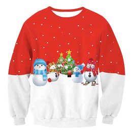 Snowman Christmas Trees Print Ugly Christmas Women Pullover Sweater Women