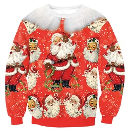 3 D Print Fur Happy Santa Faces Ugly Christmas Women Pullover Sweater