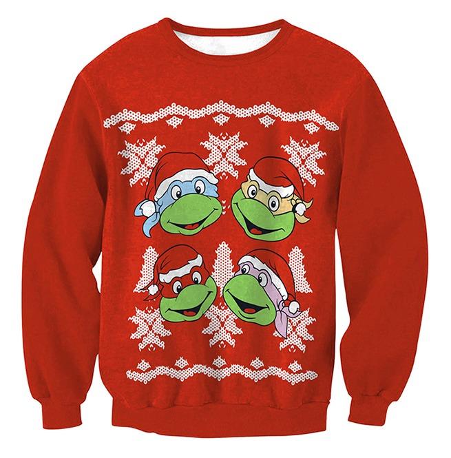 Christmas Tree Sweater Womens: Turtles Santa Christmas Tree Print Ugly Christmas