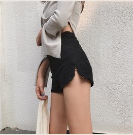 Side Zipper Slip Shorts Denim High Waist Pants Black B2233