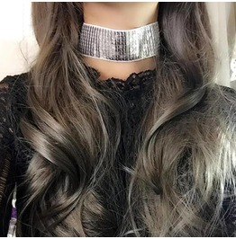Choker Necklace,Wide Choker, Silver Bling Sequins ,Luxury Style Jewelry Han