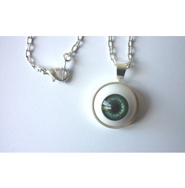 Blue Grey Eye Necklace