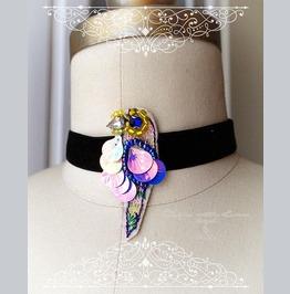 Funky Parrot Black Velvet Choker Necklace,Bird Necklace, Sequins