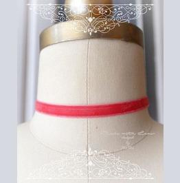 Melon Pink Velvet Choker Necklace,Skinny 1 Cm, ,Luxury Style Jewelry