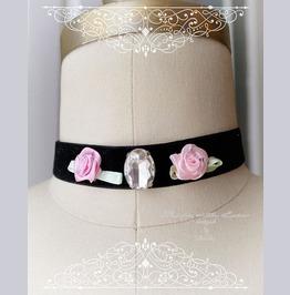 Choker Necklace Pink Rose Rhinestone, Black Velvet Choker,Fashion Jewelry H