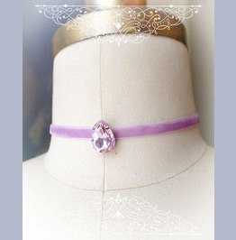 Lilac Lavender Choker Necklace,Pink Rhinestone ,Luxury Style Jewelry