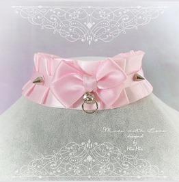 Kitten Pet Play Collar , Bdsm Ddlg Choker Necklace Pink Satin Ruffles Bow