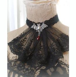 Victorian Choker Necklace Jabot Collar Black Lace Bat Red Crystal