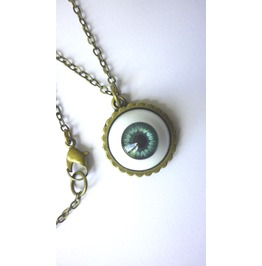 Precious Blue Grey Eye Necklace
