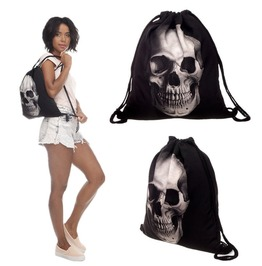Backpacks Black Drawstring Travel Bag 3 D Printed Head Skull Shopping Bag