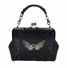 Gothx Skull Head Wing Oversize Purse Ladies Handbag