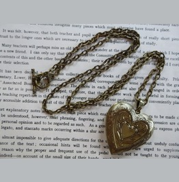 Hammered Love Locket That Opens With Brass Antique Patterned Tin Heart