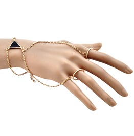 Gold Plated Bohemian Double Chain Link Fingers Ring Triangle Slave Bracelet