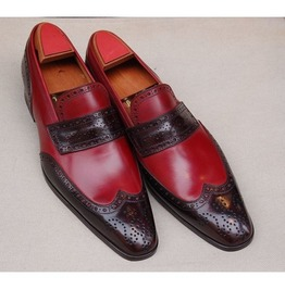 Handmade Men Two Tone Formal Shoes, Men Brown And Burgundy Color Shoes