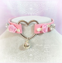Bdsm Daddys Girl Choker Necklace Pink Faux Leather Heart Bell Rose Rhinesto