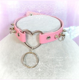 Bdsm Daddys Girl Choker Necklace Pink Faux Leather Heart Spikes O Ring Kitt