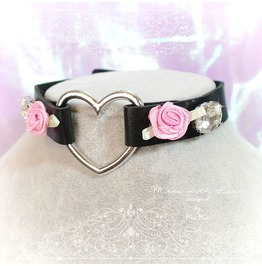 Bdsm Daddys Girl Choker Necklace Black Faux Leather Heart Rose Rhinestone K