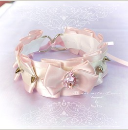 Bdsm Kitten Play Princess Cat Collar Choker Necklace Pink Beige Bow Rhinest