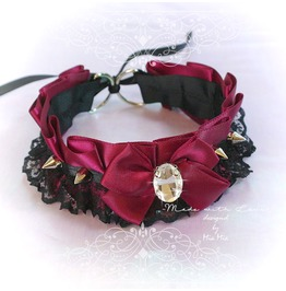 Bdsm Kitten Play Princess Collar Choker Necklace Wine Red Black Lace Bow