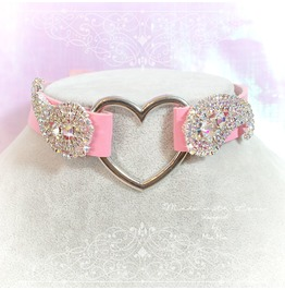 Bdsm Daddys Girl Choker Necklace Pink Faux Leather Heart Rhinestone Bling K