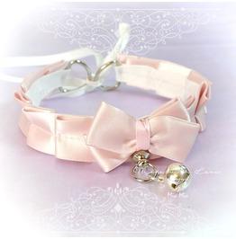 Bdsm Kitten Play Princess Cat Collar Choker Necklace Pale Pink Bow O Ring B