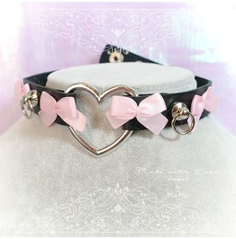 Bdsm Daddys Girl Choker Necklace Black Faux Leather Heart O Ring Pink Bow