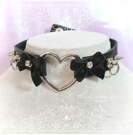 Bdsm Daddys Girl Choker Necklace Black Faux Leather Heart O Ring Velvet Bow