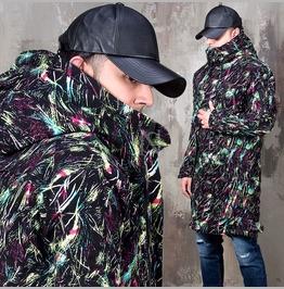 Artistic Pastel Scratch Pattern Long Jacket 300