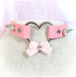 Bdsm Daddys Girl Choker Necklace Pink Faux Leather Heart Bow Rhinestone