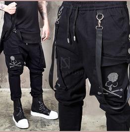 Webbing Strap Cubic Skull Black Bending Pants 180