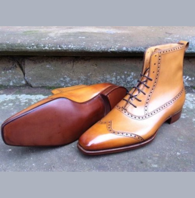 7ad4462f6e4 Handmade Men Tan Color Wingtip Brogue Ankle Lace Up Boots, Leather Boot