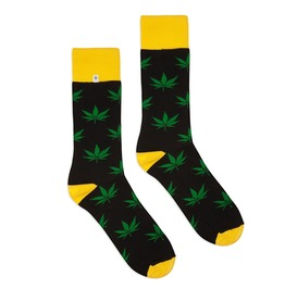 Colorful Socks With Green Leaves Cannabis