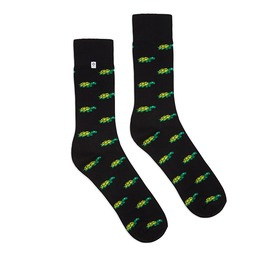 Colorful Socks With Green Turtles On Black Background