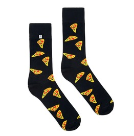 Colorful Socks With Pizza On Black Background